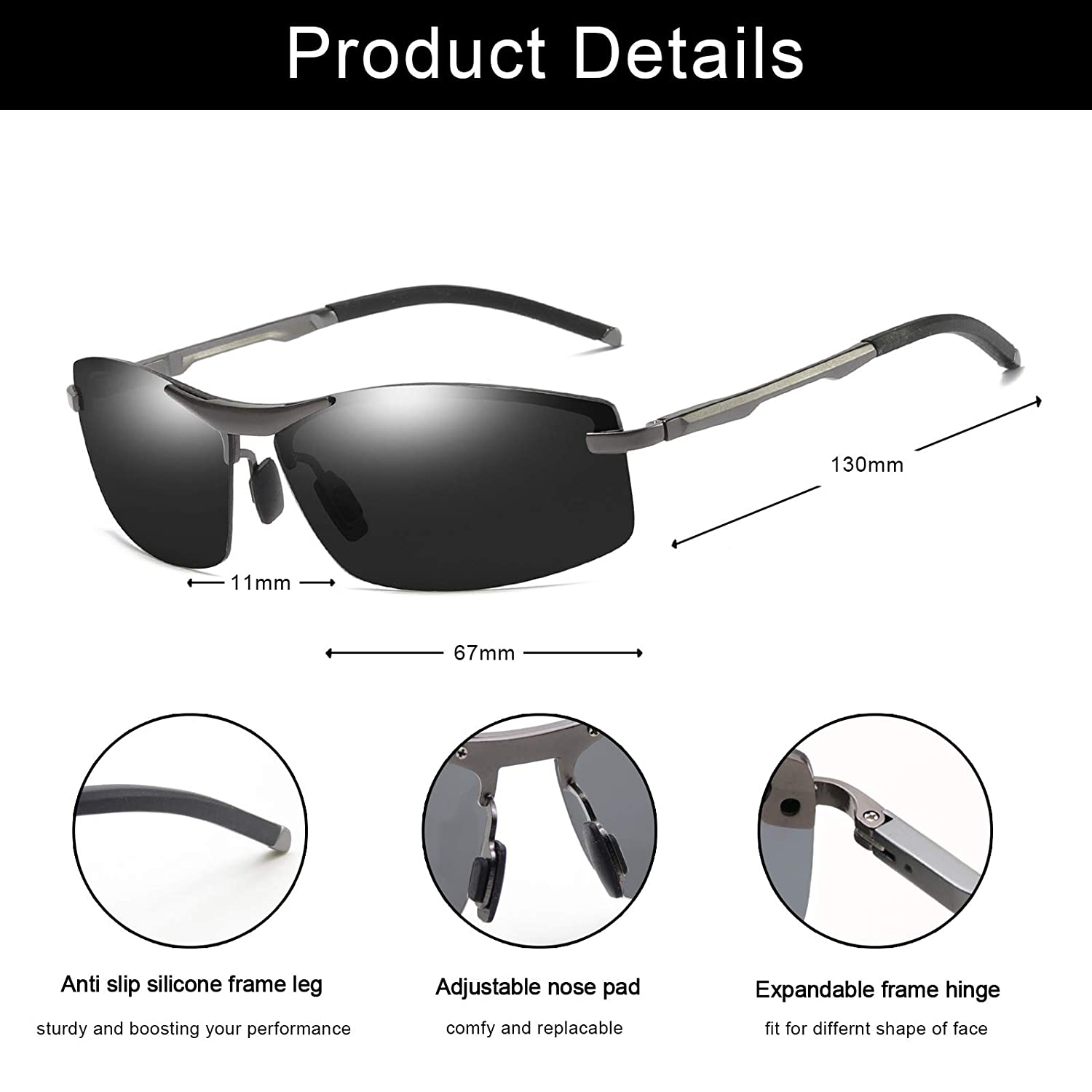 WHCREAT Mens Driving Polarized Sunglasses Ultra Light Al-Mg Metal Frame with Spring Hinges