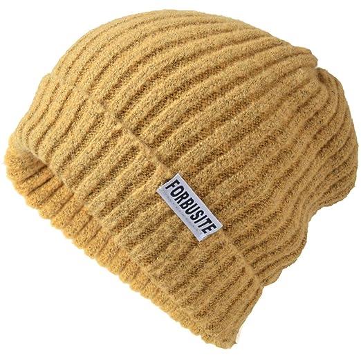 c09f7ecf3c18a Men Knit Beanie Warm Winter Cuff Beanie Daily Skull Cap (Yellow) at ...