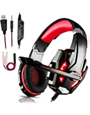 Igrome Cuffie da Gioco per PS4,Cuffie Gaming con 3.5mm Jack LED Cuffie da Gaming con Microfono Bass Stereo e Controllo Volume Gaming Headset per PS4/Xbox One X e S/Nintendo Switch/PC/Laptop/Tablet