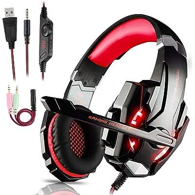 Igrome Auriculares Gaming PS4,Cascos Gaming de Mac Estéreo con Micrófono Juego Gaming Headset con 3.5mm Jack Luz LED Bajo Ruido Compatible con PC/Xbox One/Nintendo Switch/Móvil (Rojo)
