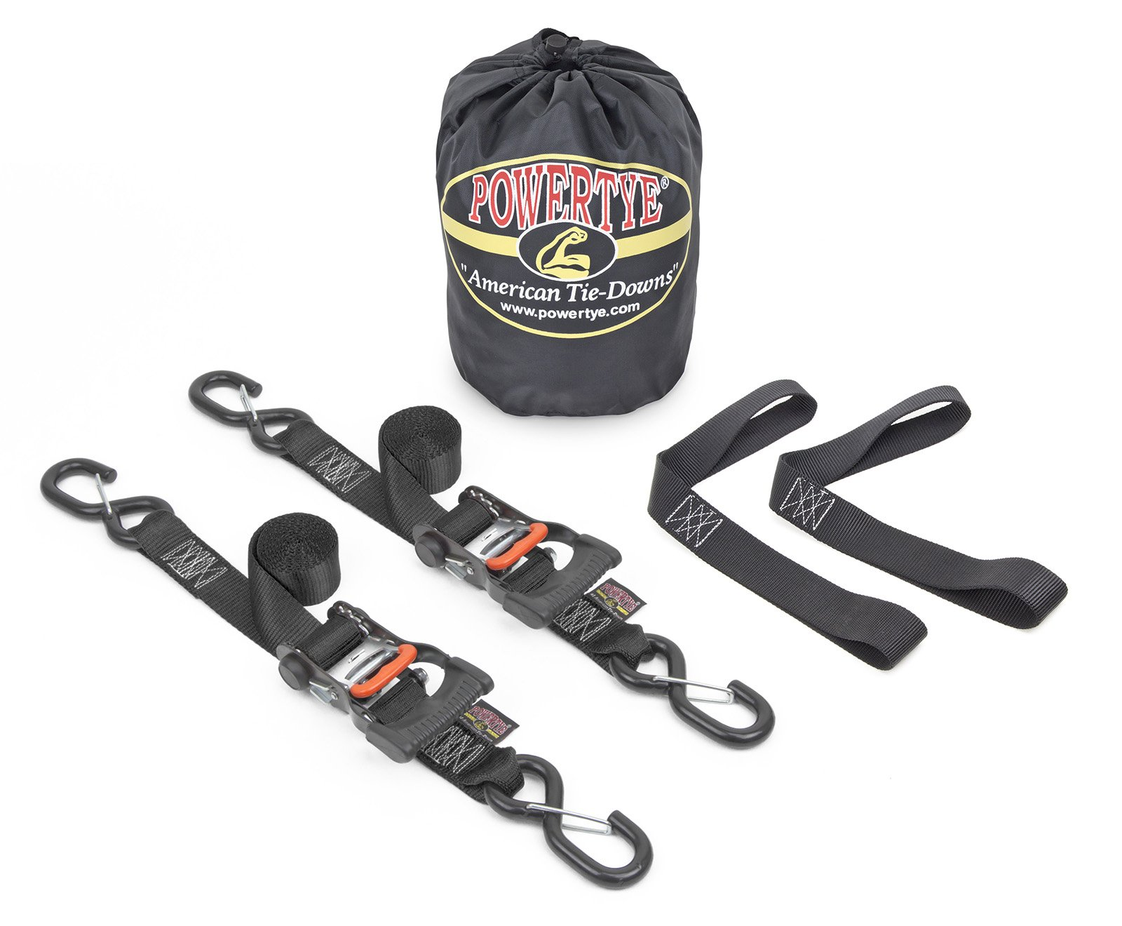 1½'' x 6ft PowerTye Made in USA Ergonomic Ratchet Tie-Down Kit with 1½''x18'' Soft-Tyes and Storage Bag, Black (pair)