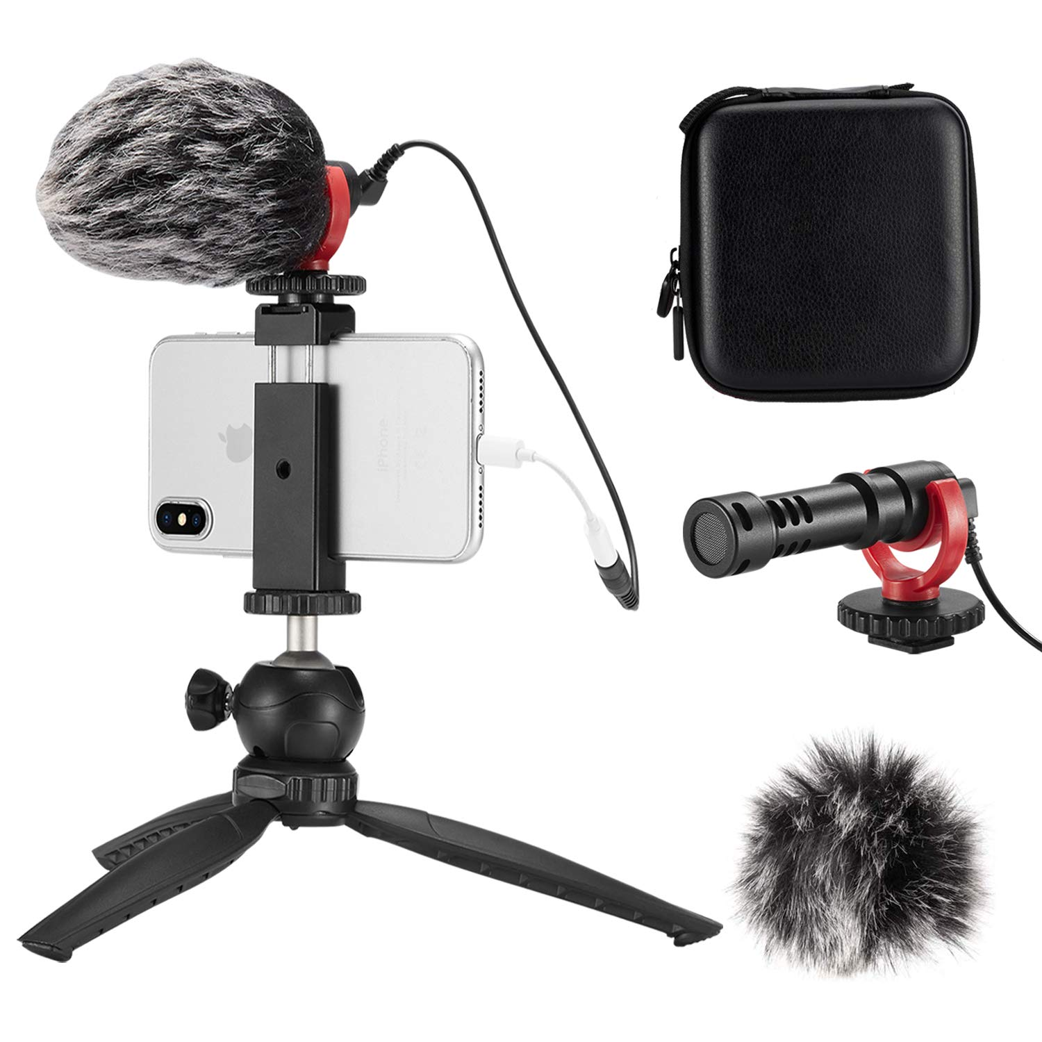FULAIM Smartphone Video Microphone w/Anti-Shock Mount Phone Holder Tripod Compatible with iPhone Samsung etc. Mobiles and DSLR Camera for YouTube Vlogging Facebook Livestream Audio/Video Recording by FULAIM