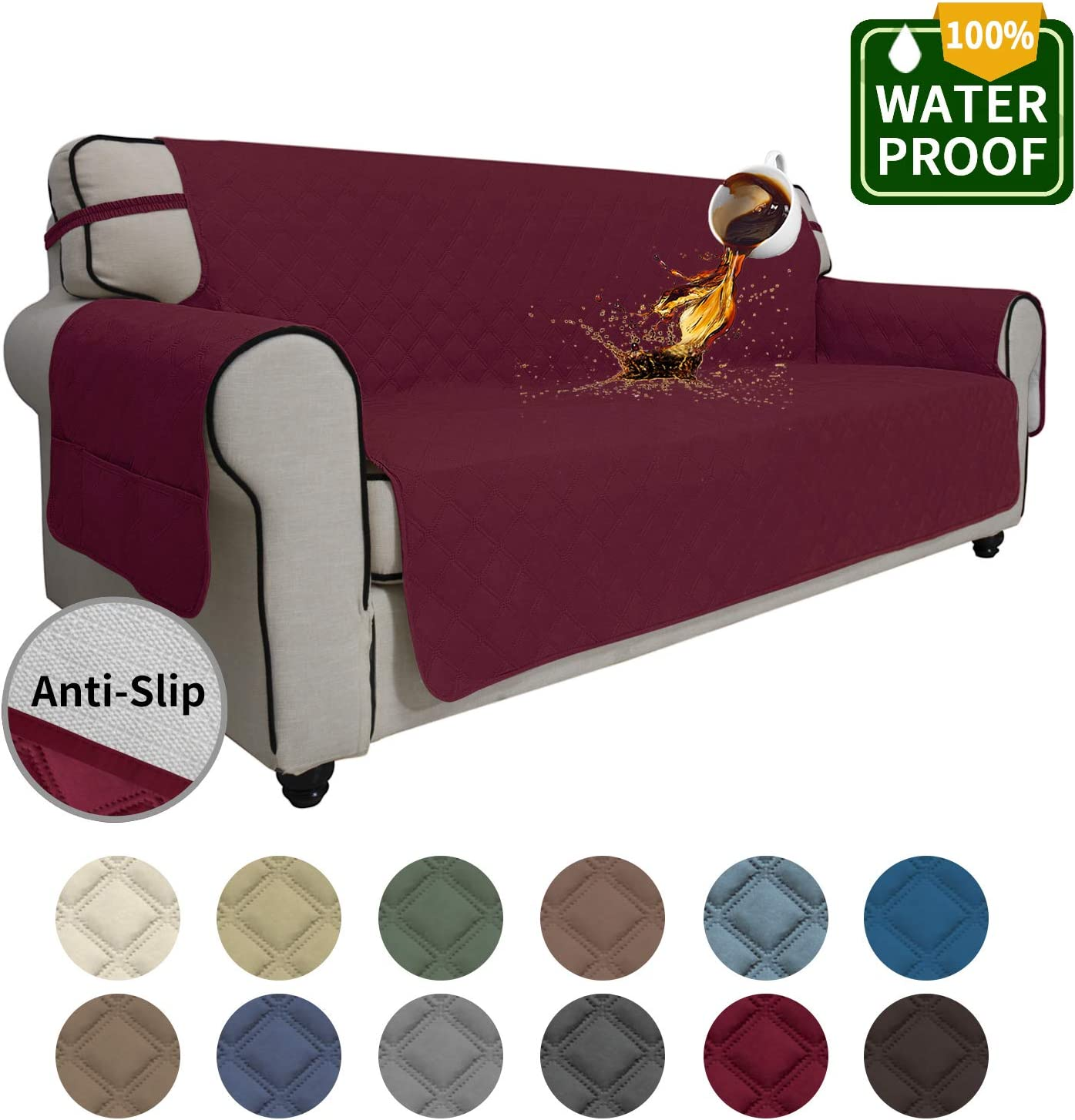 Easy-Going Sofa Slipcover Waterproof Couch Cover Non-Slip Sofa Cover for 3 Cushion Couch Seamless Whole Piece Fabric Furniture Protector for Pets Kids Children Dog Cat(Oversized Sofa, Wine)