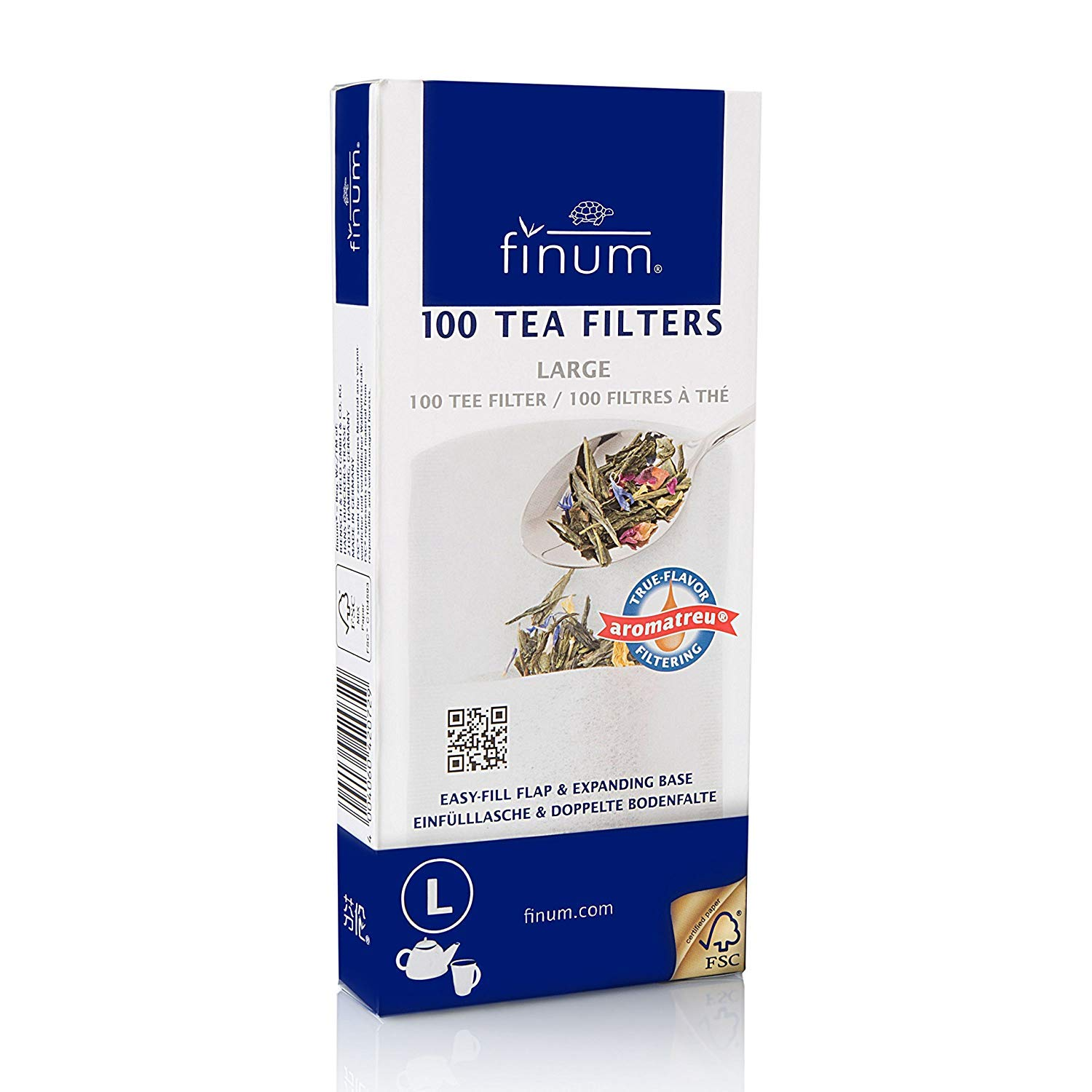 Finum Disposable Paper Tea Filter Bags for Loose Tea, White, Large, 100 Count (Pack of 24)