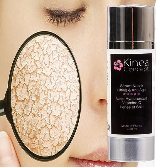 Serum facial antiedad, Acido Hialurónico + Vitamina C, Hecho en Francia. una textura nacarada y ligera - Serum Kinea penetra profundamente y Activa la ...