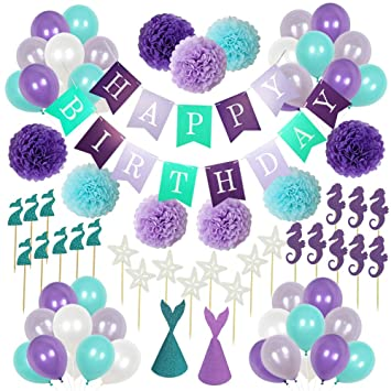 Decoración púrpura azul bola decoración flor de papel sirena ...
