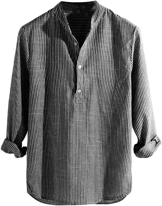 Cromoncent Mens Long-Sleeve Striped Slim Button-Down Casual Dress Shirts