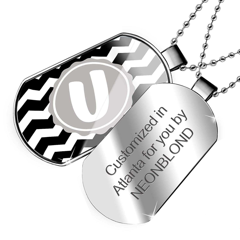 NEONBLOND Personalized Name Engraved Monogram U Black Chevron Dogtag Necklace
