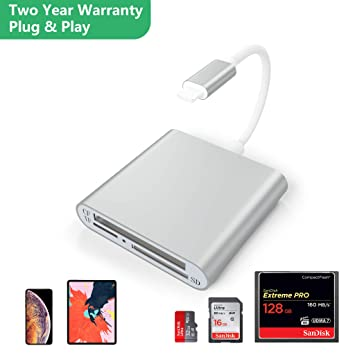 CATECK Lector de Tarjetas de Aluminio, 3 en 1 Adaptador de Lector de cámara de Doble Ranura para Tarjeta TF,Cable Adaptador USB OTG para iPhone XS/x / ...