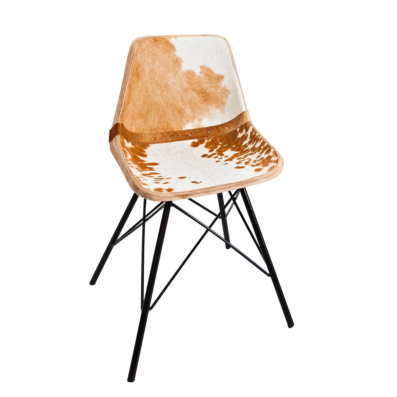 Invicta Interior Design Stuhl Toro Hochwertiges Echtes Kuhfell braun braun braun weiß Eisengestell Echtfell Esszimmerstuhl Echtleder 005f6a