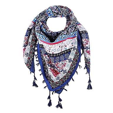 4f5acc60997 Rameng 110   110cm Foulard Gland Rétro Imprimé Bohême Wrap Hiver Echarpe de  Cou Pour Femme (Bleu)  Amazon.fr  Vêtements et accessoires