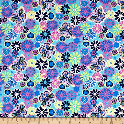 Printed Flannel Botanical Garden Aqua Fabric By The Yard (Purple Flannel Fabric)