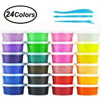 Swallowzy Fluffy Floam Slime Clay, 24 Colors Snow Mud Fluffy Slime Kit Scented Stress Relief Safe and Non Toxic for Kids