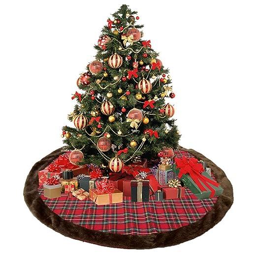 HHUMR Brown Felpa Árbol De Navidad De La Falda De Tela Escocesa ...