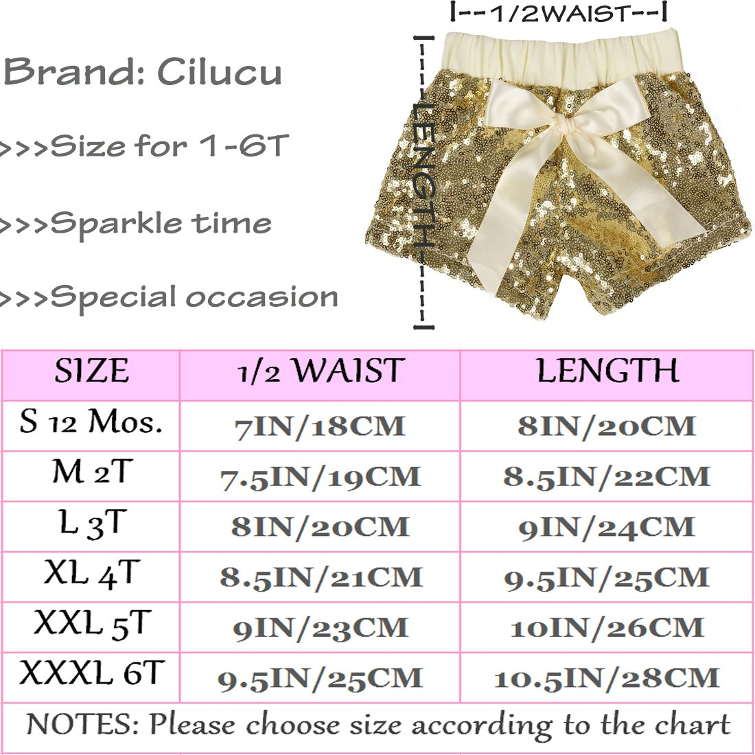 Cilucu Baby Girls Shorts Toddler Sequin Shorts Sparkles on Both Sides
