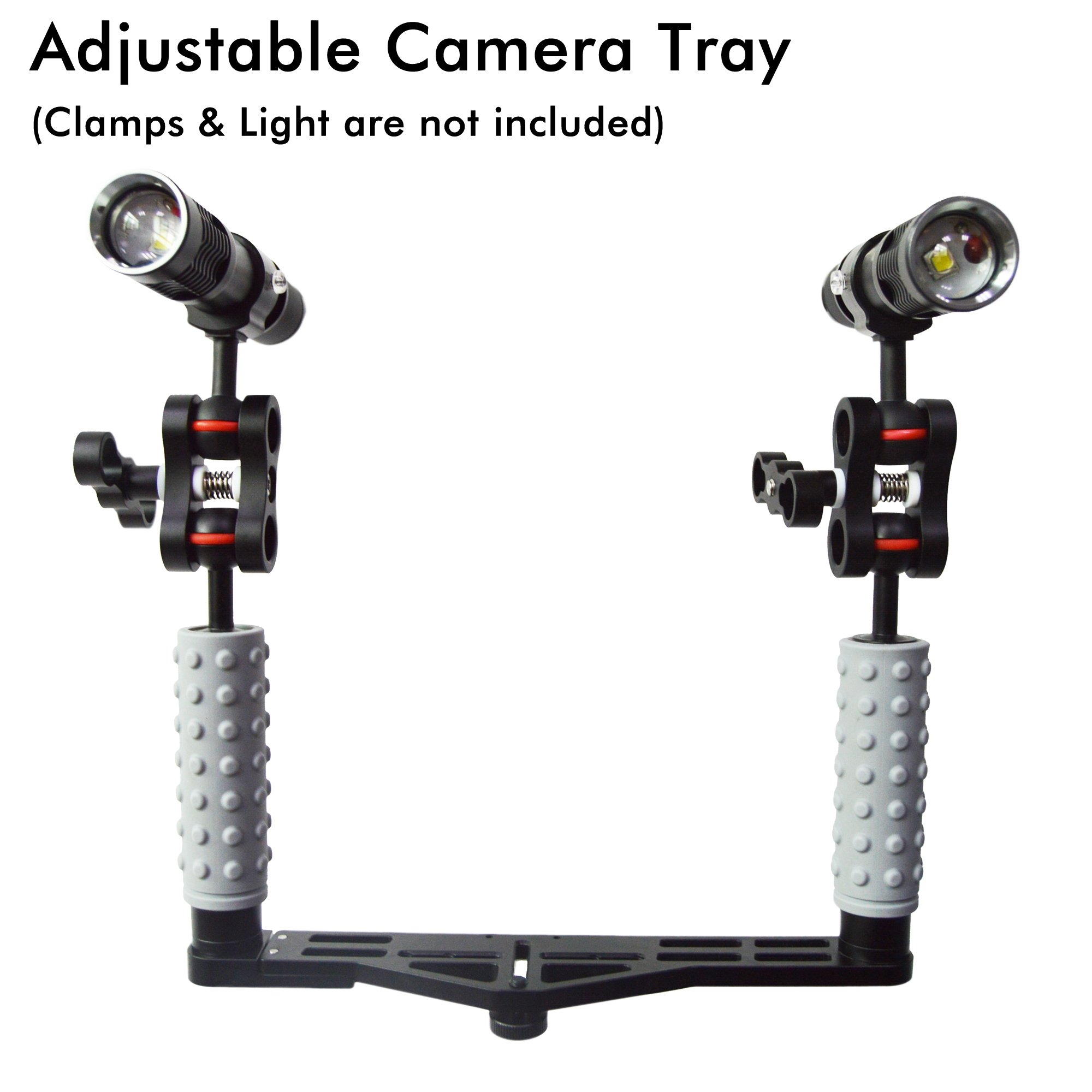 ANO Adjustable Lightweight Aluminum Alloy Camera Tray with Rubber Handle Grip for Dive Video Lights and GoPro SJCAM 6 Inches Dome Port and LED Video Light Camera