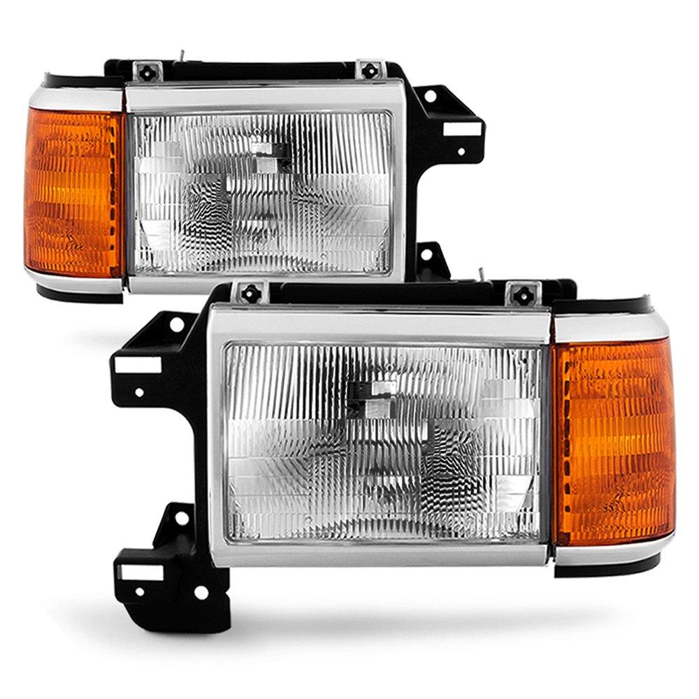 ACANII - For 1987-1991 Ford Bronco F150 F250 Truck Headlights Chrome Trim Headlamps Pair Set Driver + Passenger Side