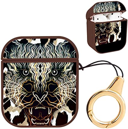 Brown Striated Hard Airpods Case Lightweight Protective Cover with Magnet and Ring Cool Tiger