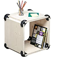 PlayWood, cubo componible en madera de abeto con estante porta objetos, utilizable como taburete, kit de 8 conectores y 4 paneles incluidos, Medidas 42x42x35cm (Negro)