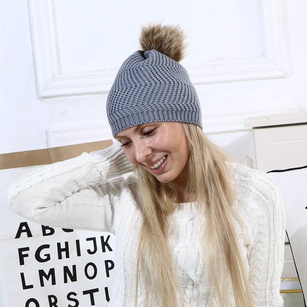 28b59d7c7851 Moonuy Bonnet Femme Casquettes Fille Bonnets Boule De Pompon Fluffy Chapeaux  Bonnet tricot é avec