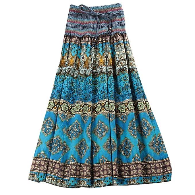 Falda Plisado Larga Bohemia para Mujer Vestido Playa Larga Falda Floral Maxi  Summer Long Dress Cinturón Elástico 2 maneras de usar - color 2  Amazon.es   ... 4d1ff21ddc90