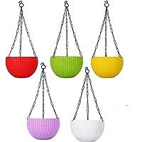 """Truphe Hanging Pots, Multi Color Flower Pots Size: 7"""" Inch Dia Set of 5"""