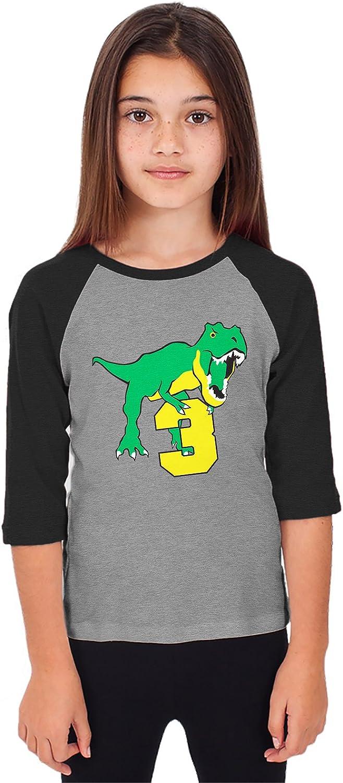 SpiritForged Apparel Dinosaur 2 Year Old Toddler 3//4 Raglan Shirt
