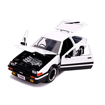 1986 Toyota Trueno (AE86) RHD (Right Hand Drive) White and Black JDM Tuners 1/24 Diecast Model Car by Jada 31602: Toys & Games