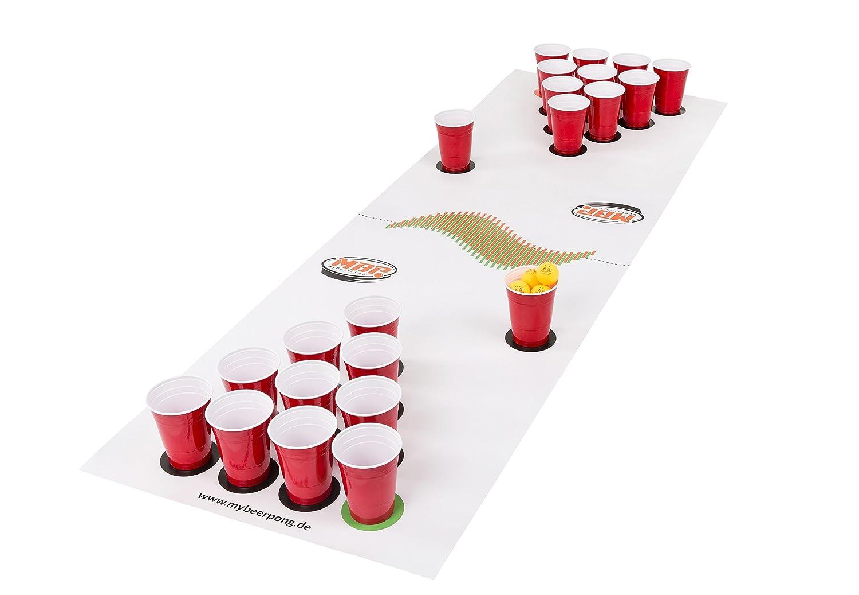 Beer Pong Set White inklusive Spielfeld, 25 Red Solo Cups, 4 Beerpong Bälle & mehr, die Alternative zum Beer Pong Tisch (Large) MyBeerPong GbR