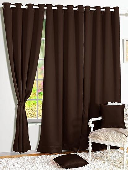 Story@Home Room Darkening Blackout Plain Faux Silk Premium Solid 2 Piece Door Curtain, 7ft, Dark Brown