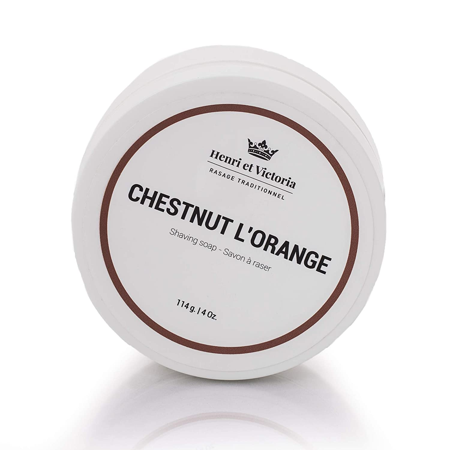 Chestnut L'Orange Shaving Soap for men| Hand Made in CANADA by Henri et Victoria |Moisturizing, Ultra Glide, Cushioning, Easy Lather, Prevent Razor Burn and Dry Skin | 114 g (4 oz) Henri et Victoria Inc.