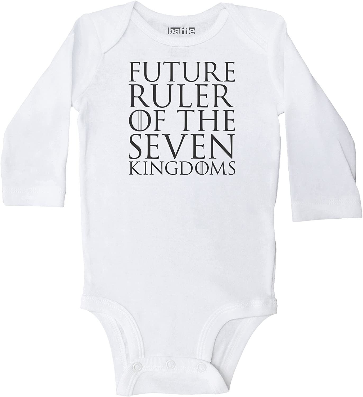 Black Text Game of Thrones Clothing Baffle Future Ruler White Long Sleeve Onesie