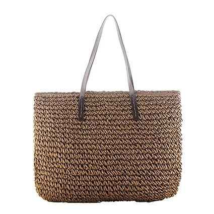 bd79370533 Fancylande - Borsa in rattan borsa quadrata borsa da spiaggia donna borsa  di paglia borsa da