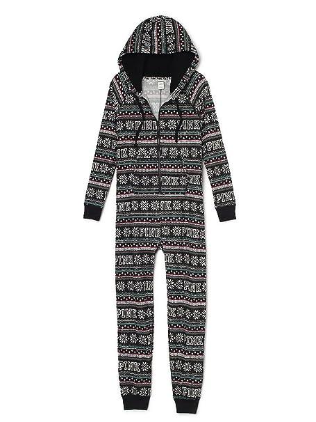 e7a1e9fdd Victoria's Secret Pink Sherpa Onesie Pajama, Black Fairisle (Medium ...