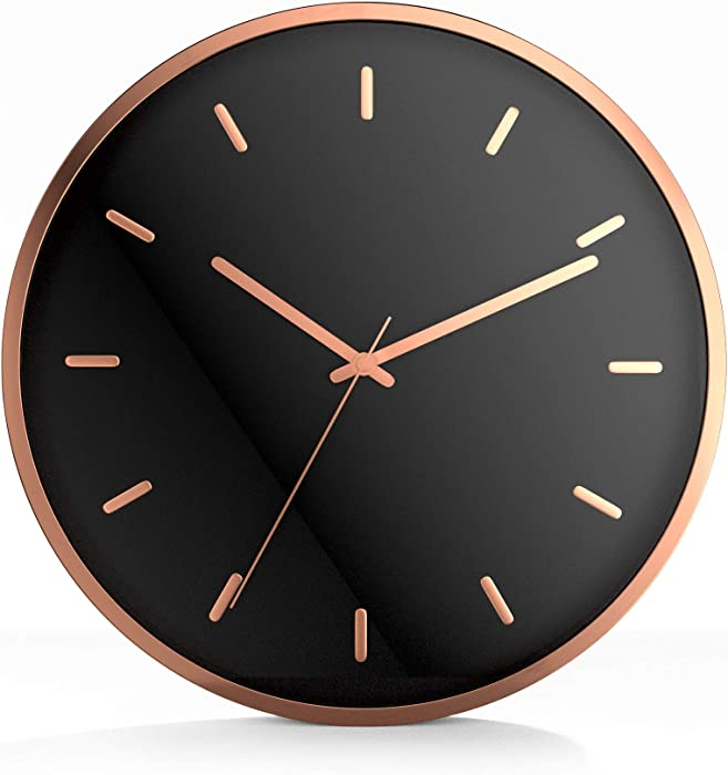 "Driini Modern Rose Gold Analog Wall Clock - Decorative Aluminum Frame with Black Face (12"") – Battery Operated with Silent Movement – Contemporary Decor for Office, Living Room, Kitchen or Bathroom."