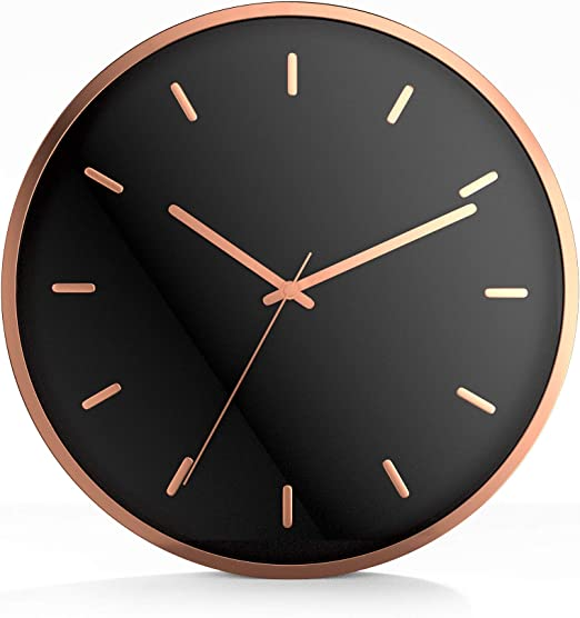 "9/"" Battery Operated; Silent Sweep Driini Modern Wood Analog Wall Clock"