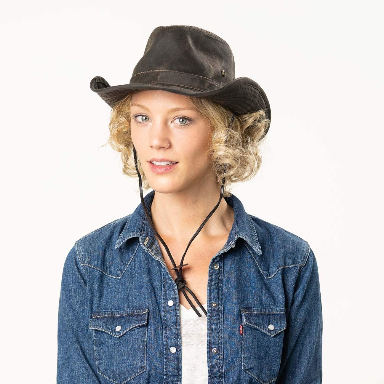 pistagna Frange Estate//Inverno Stetson Diaz Cappello Outdoor Donna//Uomo da Cowboy di Tessuto Disegno Vintage con sottogola