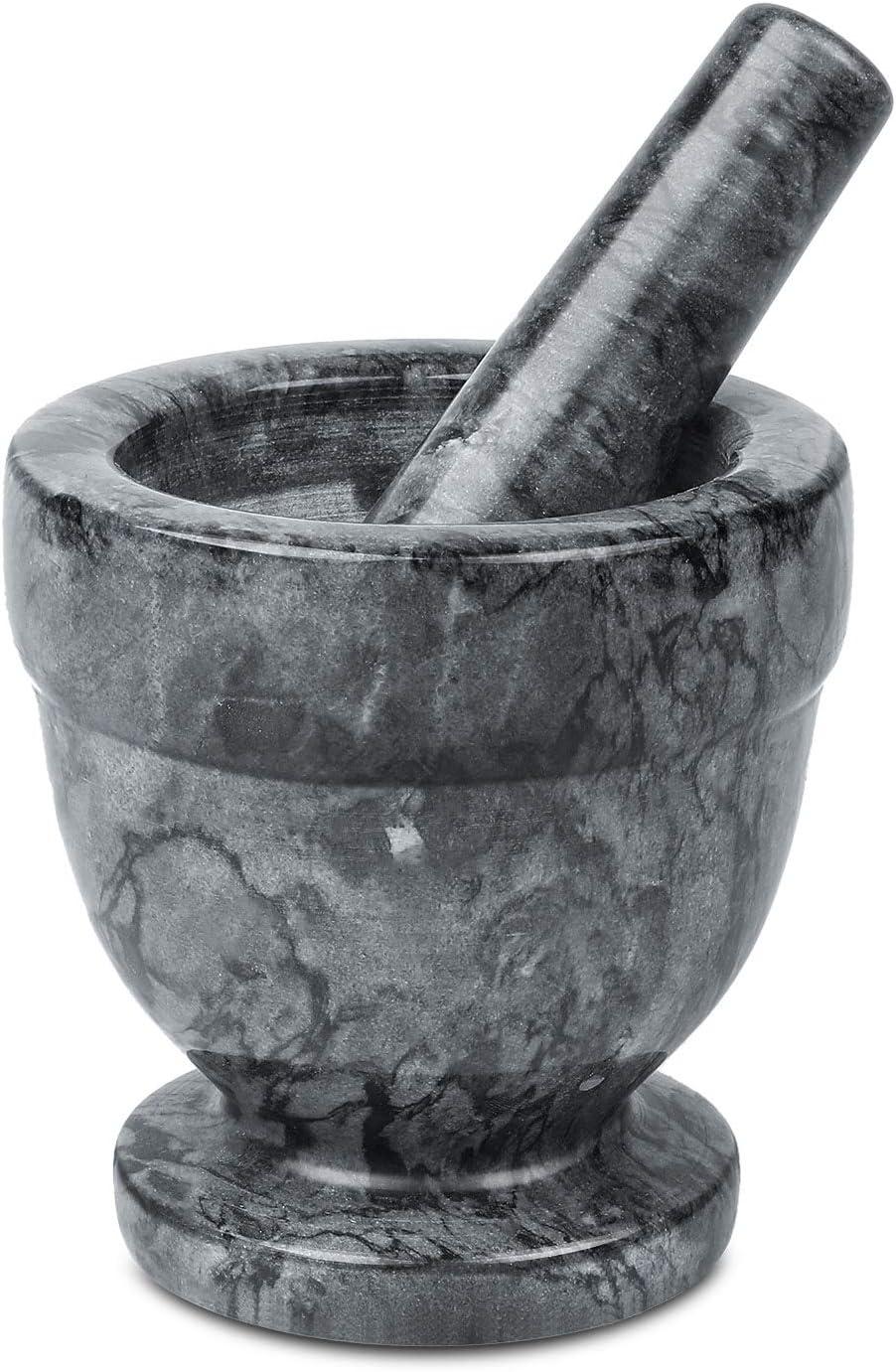 Flexzion Granite Mortar and Pestle Set - 4 Inch, Solid Granite Stone Grinder Bowl Holder for Guacamole, Herbs, Spices, Garlic, Kitchen, Cooking, Medicine, Pills, Grain, Seeds, Fruits, Kitchen