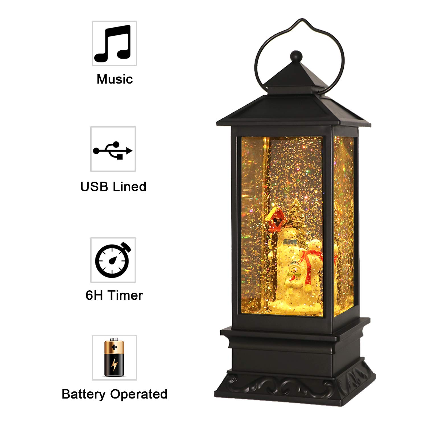 Eldnacele Christmas Snow Globe Lantern with
