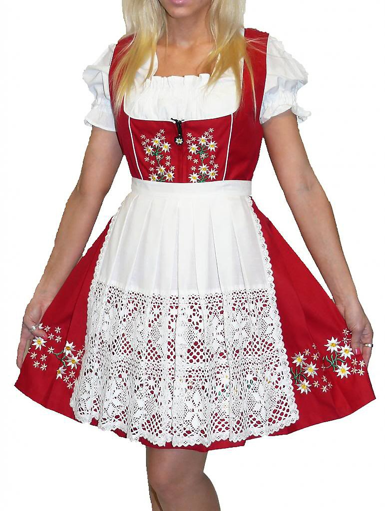 Dirndl Trachten Haus 3-Piece Short German Wear Party Oktoberfest Waitress Dress 10 40 Red