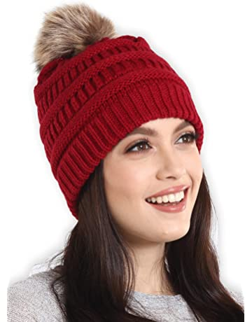 624ab03b43e Brook + Bay Faux Fur Pom Pom Beanie - Stay Warm   Stylish - Thick