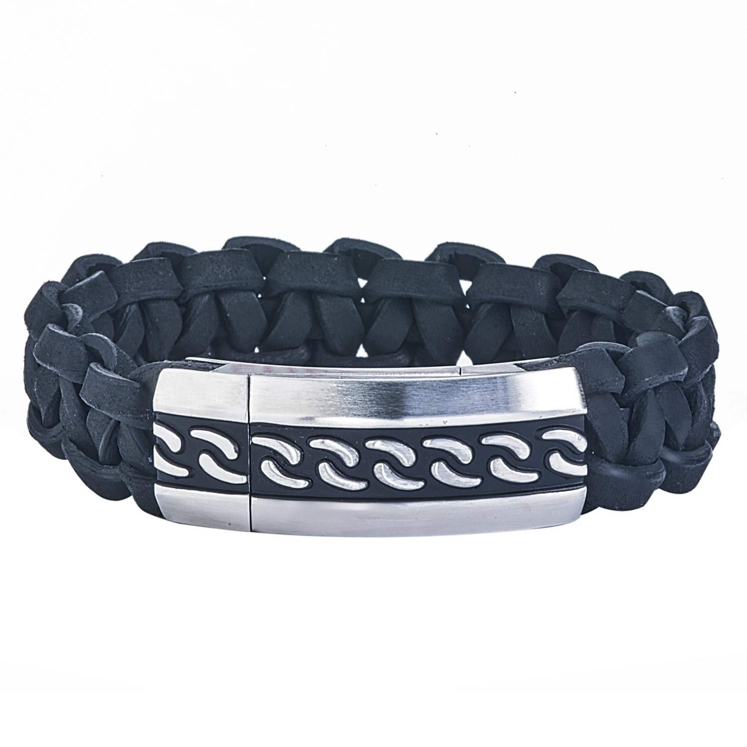 AX Jewelry Mens Stainless Steel Braided Leather Bracelet