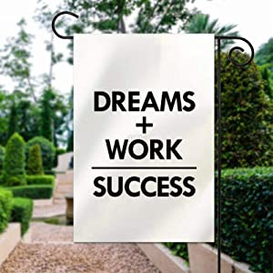 yyone Dreams and Work Equal Success1, Polyester Garden Flag House Banner 12 x 18 inch, Two Sided Welcome Yard Decoration Flag for Party, Home Decoration, Car