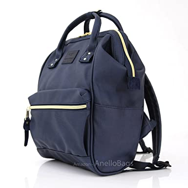 e41d2511d2 Japan Anello Backpack Unisex NAVY MINI SMALL PU LEATHER Rucksack School Bag  Campus