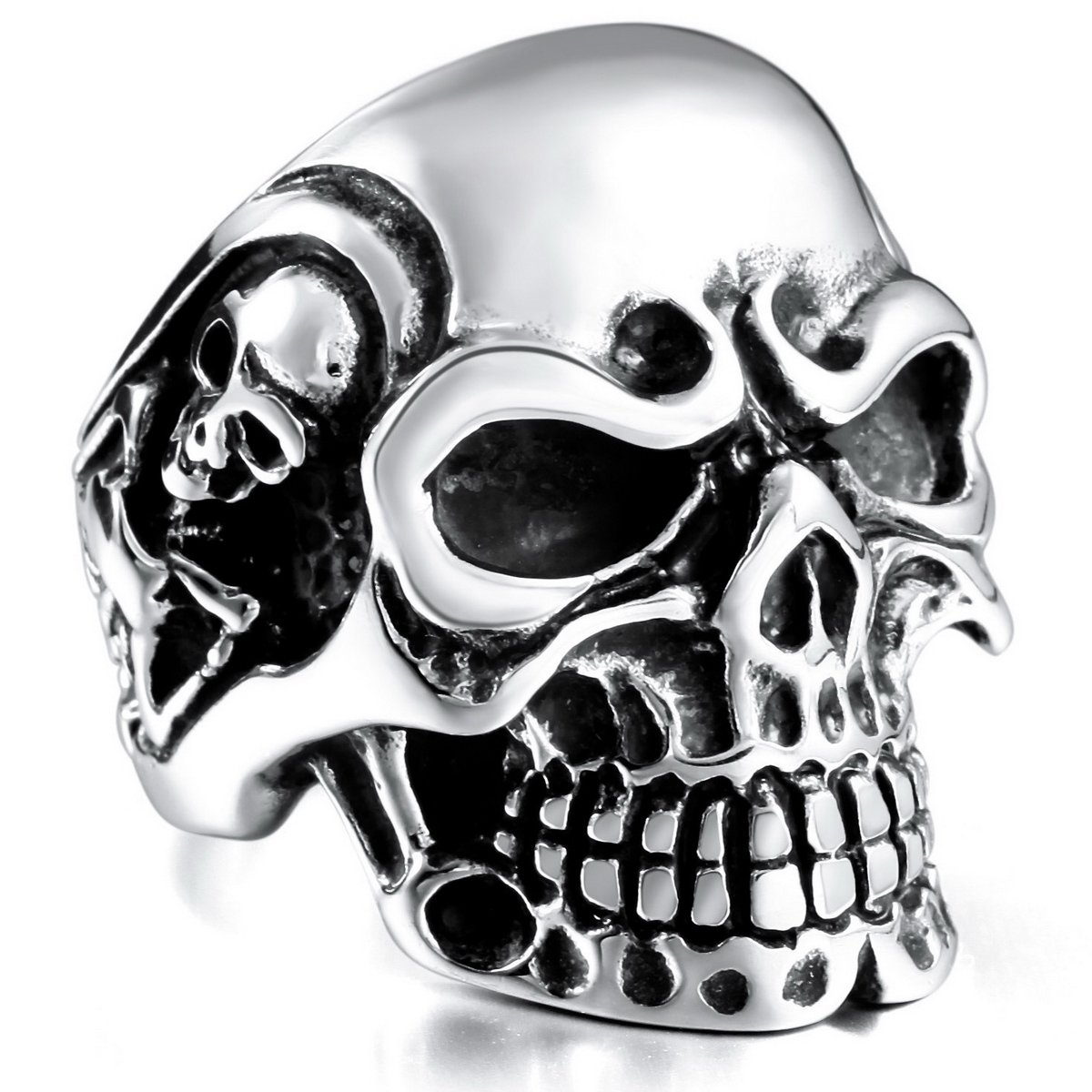 MOWOM Black Stainless Steel Ring Silver Tone Skull Bone ca5040031-parent