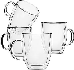 BTaT- Insulated Coffee Mug, Coffee Glass, Large, Set of 4 (16oz, 500ml), Double Wall Glass Coffee Cups, Tea Cups, Latte Cups, Glass Coffee Mug, Latte Mug, Clear Mugs, Glass Cups, Glass Tea Mugs