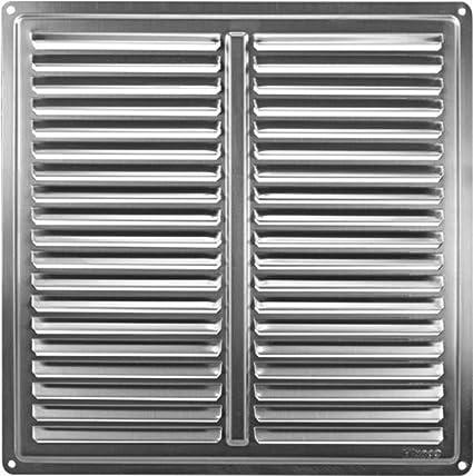 Haco - Rejilla de ventilación (acero inoxidable, 255 x 255 mm)
