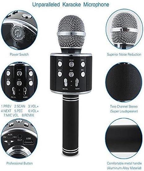 micrófono inalámbrico Karaoke con altavoz, Bluetooth, portátil, iPhone, iPad, Smartphones, aplicación, KTV, PC: Amazon.es: Instrumentos musicales