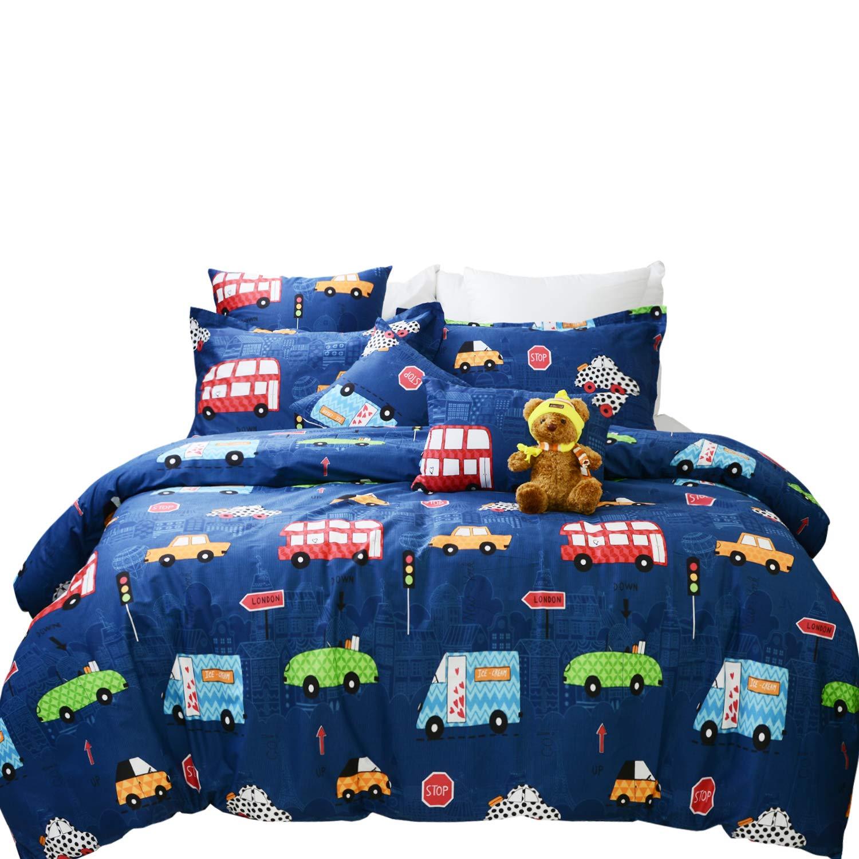 Brandream Boys Bedding Set Full Size Blue Cars Pattern Toddler Kids Duvet Cover Set 3-Piece(No Comforter Included) by Brandream