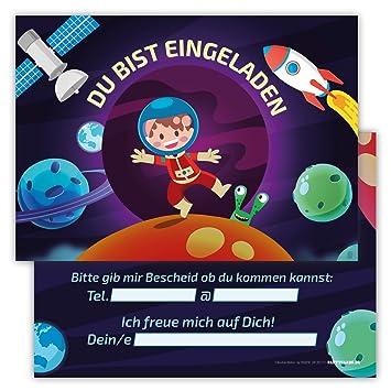 12 Lustige Einladungskarten Set Kindergeburtstag Motiv Astronaut Weltall  PartyEinladung Geburtstag Rakete Planeten Mond Alien Satellit Universum
